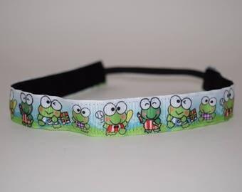 Frog Headband- Hello Kitty Headband- Keroppi Headband- Green Headband- Headband- Sport Headband