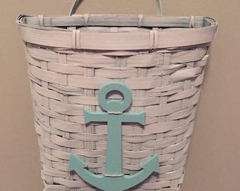 Anchor beach wall hanging basket, beach decor