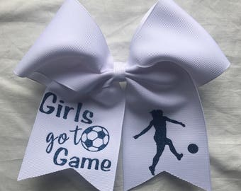 Soccer Hair Bows/ Personalized Solid Color Hairbows/Personalized Hair Bows/Customized Hairbows/Soccer Hairbows