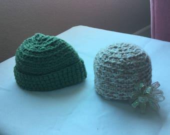 Sasha doll hats: tan tweed and green