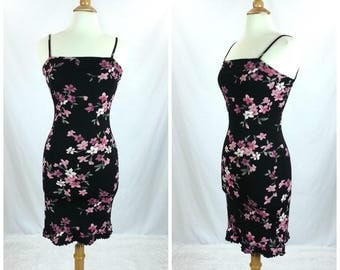 Vintage 90's Floral Dress Medium / black pink spaghetti straps square neckline knee length grunge 1990's vintage women's clothing ruffles