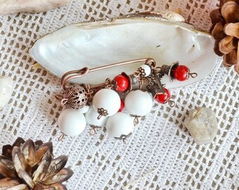 christmas in july White brooch Scarf pin Gifts for mom Pearl brooch Beaded pin Grandma gifts Shawl pin Charm pin Wedding brooch Bridal brooc