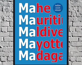 Madagascar Mauritius Maldives Mayotte Mahe Seychelles decoration vintage travel posters