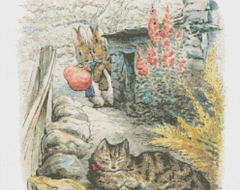"Two rabbits and one cat by beatrix potter - counted Cross Stitch Pattern chart modern pattern - 14.86"" x 17.71""  - L1144"