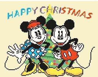 "mickey Cross Stitch mickey Pattern minnie cross stitch christmas pattern needlepoint point de croix - 9.07"" x 7.50"" - L1249"