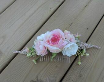 Wedding Hair Comb, Floral Hair Comb, Flower Hair Comb Pink, Bridal Hair Piece, Bridal Hair Accessories, Pink Floral Hair Comb, Bridal Comb