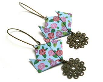 JUL & thread print folding filigree lotus flower origami pink Japanese paper earrings graphics