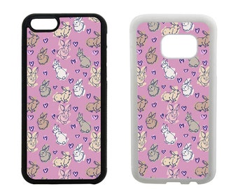 Rabbit phone case iPhone SE 8 7 6 6S Plus, X 5S 5C 5 4S, Samsung Galaxy S8 Plus, S7 S6 Edge, Note 5, S5 S4, rubber bumper bunny case. R374