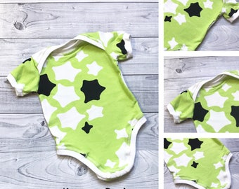SALE - Baby Bodysuit - Baby Star Bodysuit - Green Baby Bodysuit - Baby Shower Gift - Baby Boy Bodysuit - Baby Girl Bodysuit