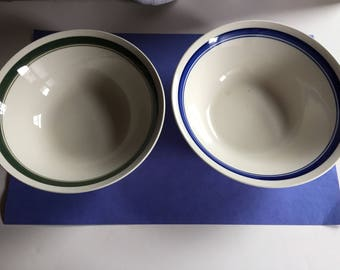 """Heavy serving bowl  green, blue     LOT OF 2      9""""wide 3"""" tall"""