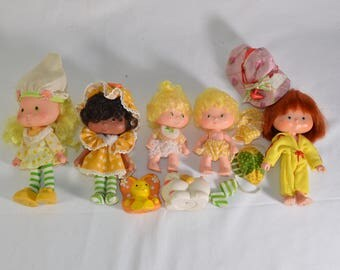 Lot of 5 vintage Strawberry Shortcake dolls and pets 1980 Kenner