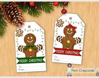 GINGERBREAD Christmas tags printable, DIY, christmas gift tags, gift idea , printable tags, printable gift tags
