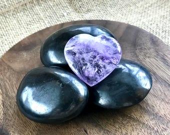 Tumbled Shungite Stones & Amethyst Heart in Custom Walnut Wood Bowl