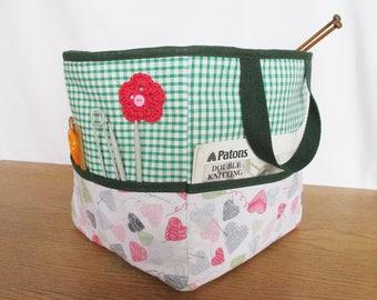 Handmade Knitting Bag, knitting tote, project bag, craft bag, crochet bag, craft storage, knitting organizer, yarn bag, knitting, hearts