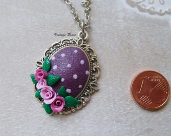 Vintage, polka dot polymer clay pendant with flowers