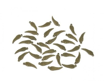 100 charms 17mm Bronze wings