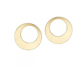 5 pendants hoop discs color gold plated 50mm