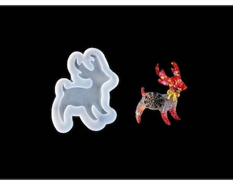 Reindeer's Christmas 58 mm for creations silicone mold resin polymer clay