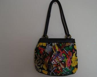 VINTAGE NICOLE MILLER 1991 Collection Black Leather Handbag. Snacks and Food pattern Leather Handbag. Signed.