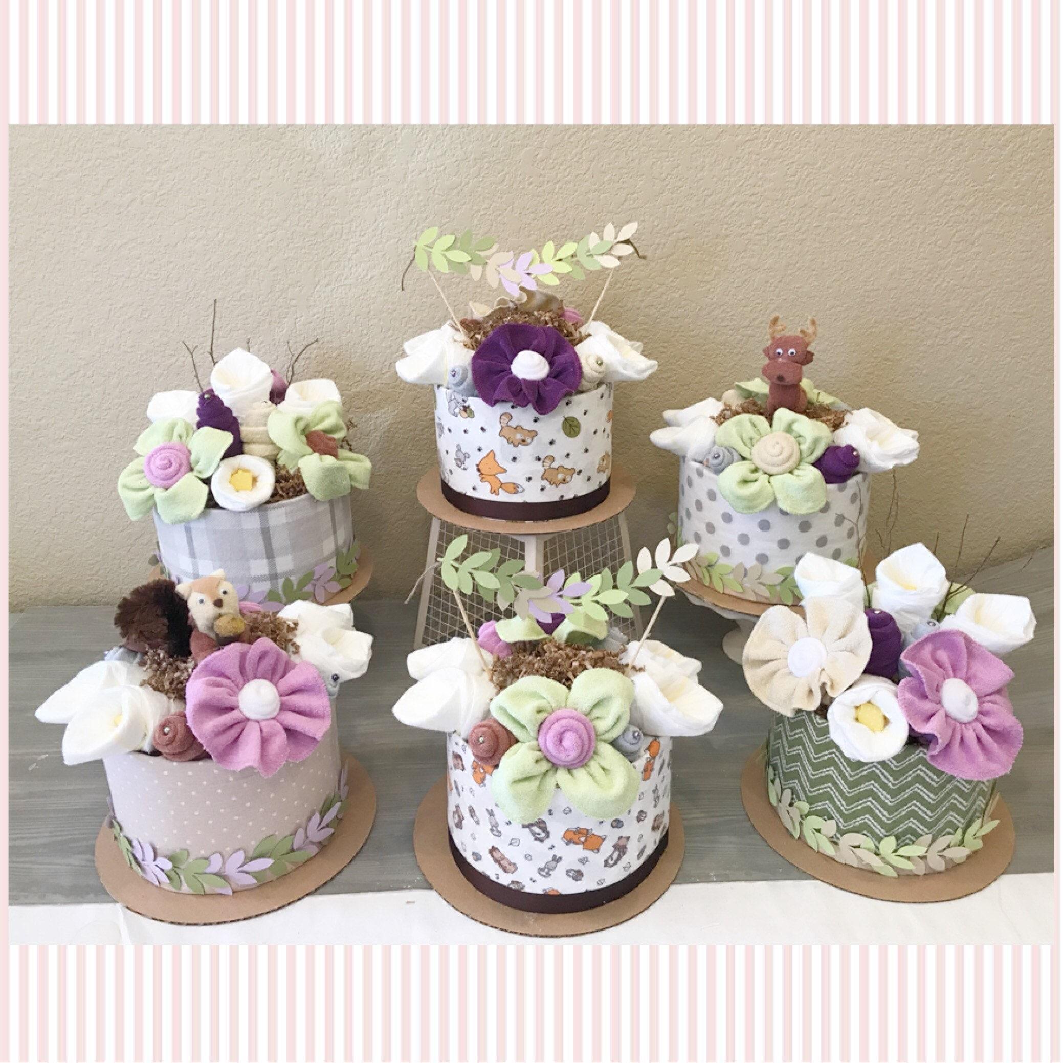 Woodland Baby Shower Centerpiece   Beige, Green And Purple Diaper Cake    Woodland Baby Shower Decor   Gender Neutral Woodland Friends Decor