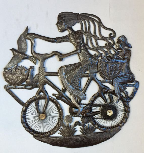 "Girl in a Bicycle, Haitian Metal Art from Recycled Oil Drums, Fair Trade 32"" x 32"""