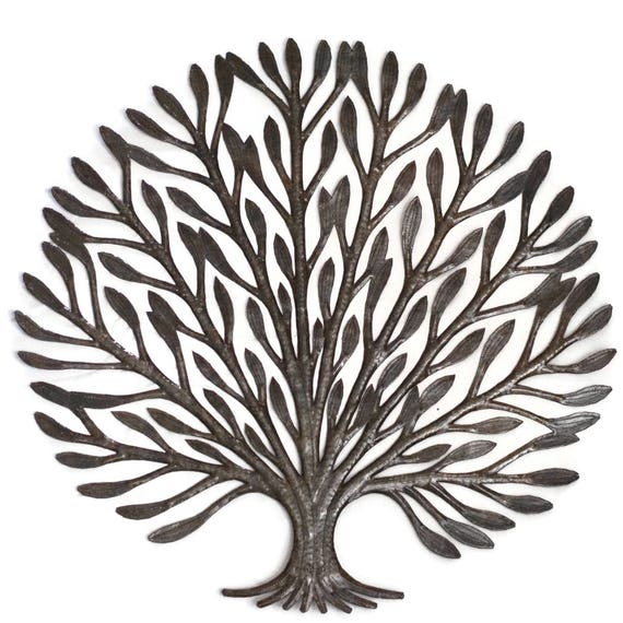 "Elegance Garden Tree of Life Handmade in Haiti Fair Trade Metal Wall Art 23"" x 23"""