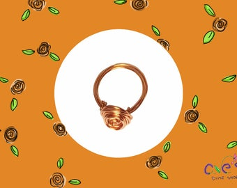 Copper Wire Rose Ring by Ave's Dime Shop