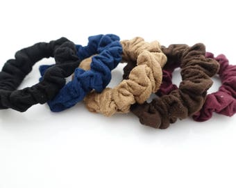 Suede Scrunchies A Set of 5 Ponytail Holders Fall Winter Hair Scrunchies Women Hair Accessories
