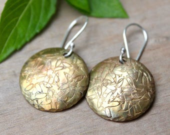 Copper dangle earrings, Gold patina earrings, Hammered earrings, Handmade dangles, Copper jewelry, Silver ear wires, Gift for her, Small