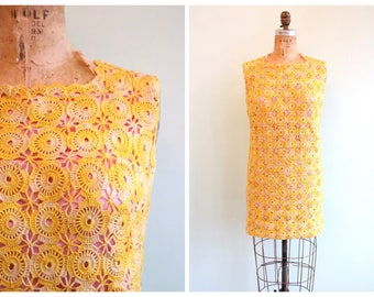 Vintage 1960's Yellow Crochet Mini Dress | Size Small