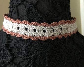 Lace Choker or Headband - Handmade Crochet - Copper and Cream - Item N106