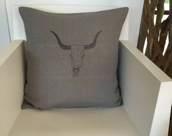 """100% steel grey washed linen pillow cover """"Buffalo"""""""