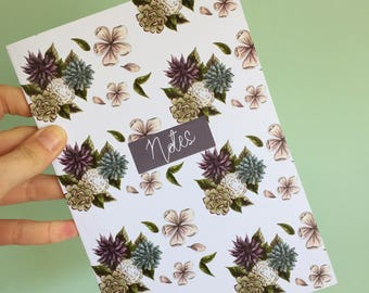 A5 Notebook - Succulent Notebook - Stationery - patterned notebook - back to school - exercise book - cute notebook - floral
