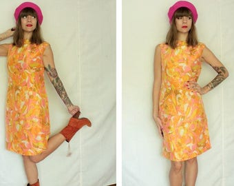 1960's Psychedelic Floral A-Line Dress - 60's A-Line Shortless Dress -Size S #1191