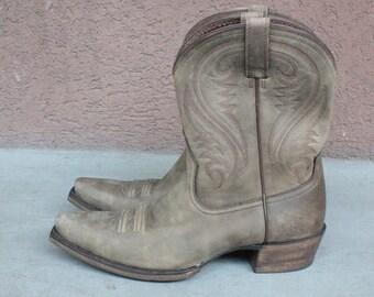 Vintage Beige Leather Cowboy Boots - Vintage Santiag Boots - Size 40