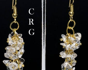 Gold Plated Clear Quartz Grape Cluster Earrings (GC7DG)