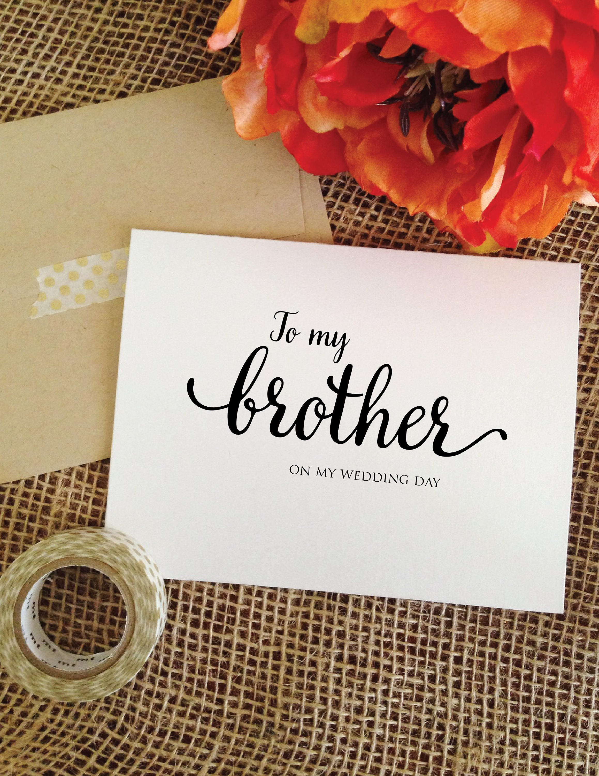 To My Brother On My Wedding Day Card Brother Wedding Card To My