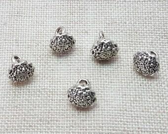 Lotus Seedpod Charms x 5.  Seed Head Charms.  Tibetan Silver. UK Seller