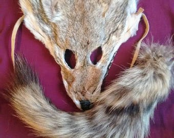 Natural Coyote Mask & Tail Set