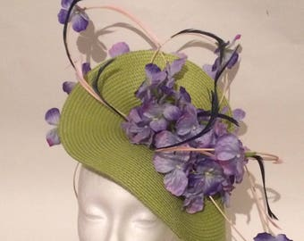 Green Moss and purple wedding Hat