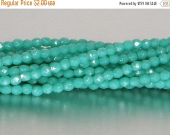ON SALE Fire Polish, Opaque Turquoise, 3mm Round Bead, Czech Pressed Glass, (63130), 50 count