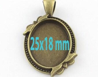2 oval tray (pr 25x18mm) pendant backings
