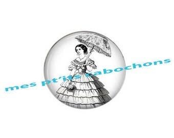 Pretty cabochon glass Ref - 18 mm lady with parasol