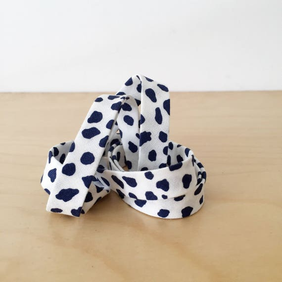 "Bias tape in Riley Blake Safari Party Navy Blue Cheetah Spots Cotton- 1/2"" Double-fold binding- 3 yard roll"