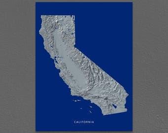 California Map, California Wall Art, CA State Art Print, Landscape, Navy Blue