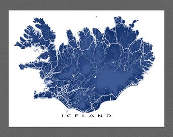 Iceland Map Print, Iceland Poster, Map Art Print