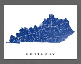 Kentucky Map, Kentucky Art Print, USA State Outline, KY Map Poster