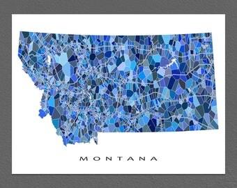 Montana Map Print, Montana State Art, MT Wall Artwork
