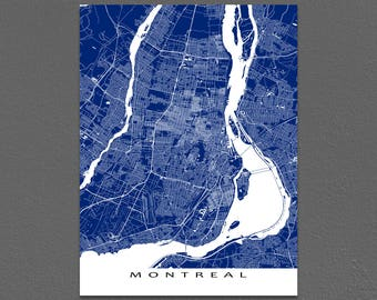 Montreal Map Prints, Montreal Art, Montreal Canada, Quebec Map Print