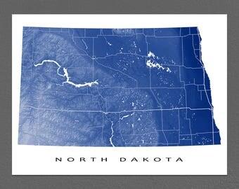North Dakota Map Print, North Dakota State Art, USA